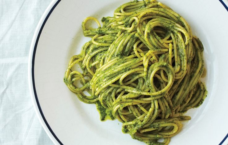 This recipe makes more pesto than you'll need. Serve the extra with vegetables or fish, or spread it on sandwiches.