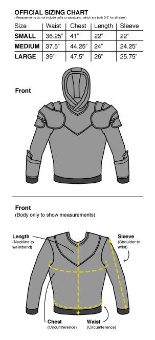 Grey Knight Armored Hoodie Sizechart
