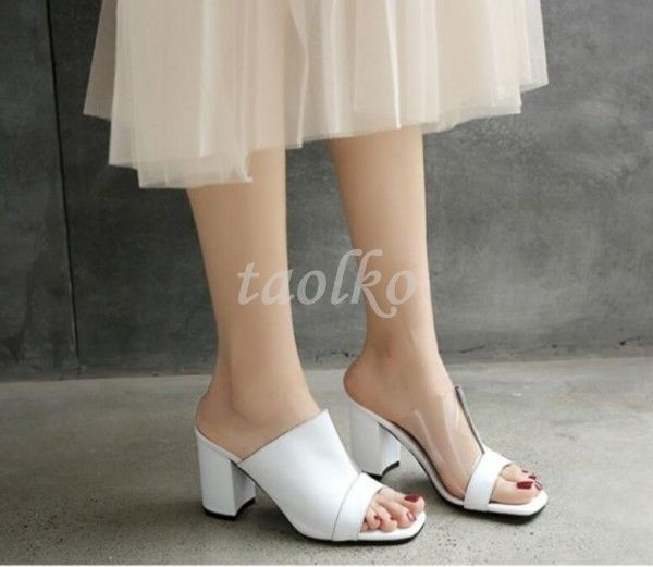 Womens Summer Slippers Chunyk Heels Open Toe Slingbacks Leather Sandals Shoes Sz