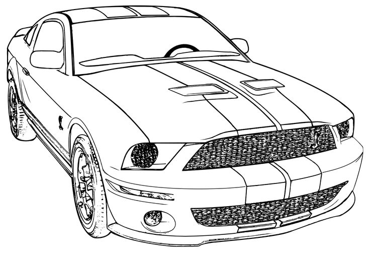 Coloring Pages Mustang Car : Printable mustang car coloring page ford