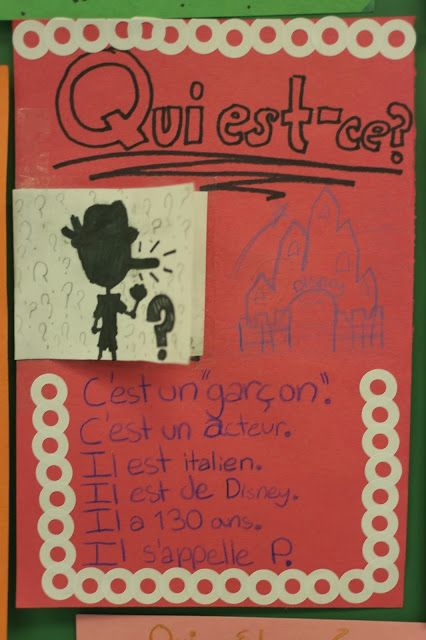 The French Corner: Qui est-ce ? A Celebrity Guessing Game. Students will love bringing pop culture into the French classroom with this game that has them practicing adjectives and other vocabulary.
