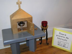 Maria Montessori developed a model altar & related articles to deepen children's access to the liturgy of the church.  Here is a wooden tabernacle for a CGS atrium in Philadelphia.  Note the card materials adjacent to it which strengthen children's mastery of the nomenclature related to the tabernacle.  For more information, see the on-line materials manual of www.cgsusa.org.   Catechesis of the Good Shepherd, Level 1 (3-6 years of age)