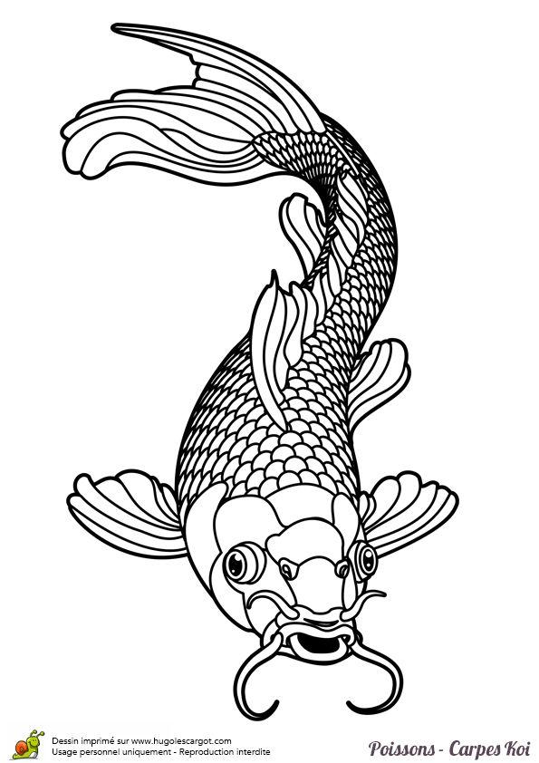 Coloriage tatouage poisson carpe koi sur texture art - Coloriage hugolescargot ...