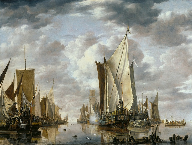 Jan van de Cappelle - Shipping in a Calm at Flushing with a States General Yacht Firing a Salute [1649]