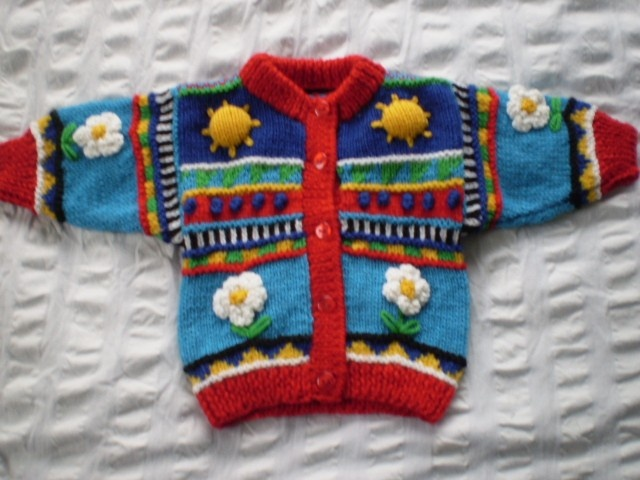 Sun & Daisy - Bright, multi coloured cardigan - hand knitted, wool. $70.00, via Etsy.