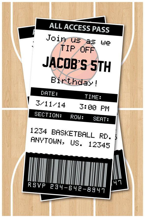 Basketball Birthday Party Invitation San Antonio Spurs Any Team Available! :)