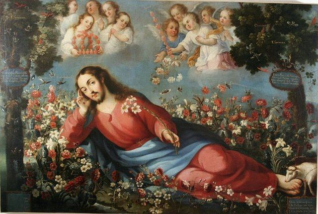 Christ in the garden of delights. José de Ibarra, oil on canvas, XVII century.