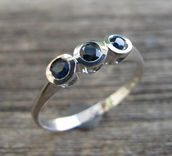 Blue Sapphire Rings Sapphire Silver Rings Three Stone by Belesas, $248.99
