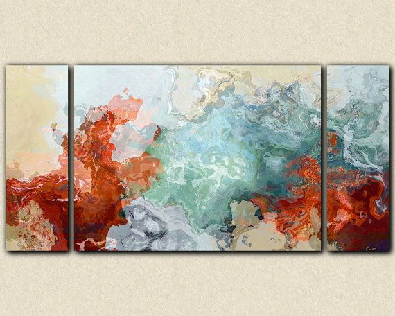 """Large triptych abstract expressionism stretched canvas print, 30x60 to 40x78 in red and blue, from abstract painting """"Simple Pleasures"""""""