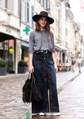 Длинная джинсовая (макси) юбка (54 фото): с чем носить, в пол, как носить, большого размера, на пуговицах