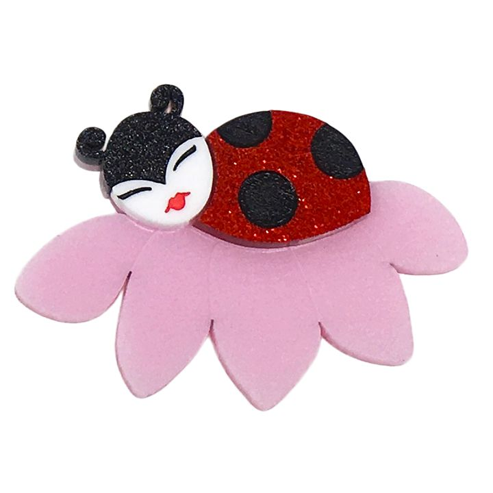 Peppy Chapette Luella Ladybird brooch in red. Made in Melbourne by Louisa Camille