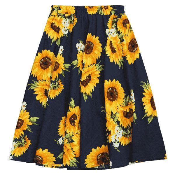 Sunflower Print High Waist Skirt ($16) ❤ liked on Polyvore featuring skirts, floral print skirt, sunflower skirt, floral knee length skirt, high-waisted skirts and flower print skirt