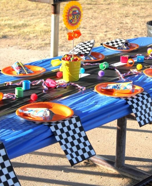 I like this idea for the tablecloths but im thinking like a street signal... Green Yellow Red