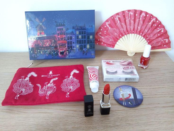 a Beautifulbox de mars 207 !!!! Thème : Moulin Rouge -éventail, pochette et miroir de Beautifulbox - crème mains Chérie cherry de Merci Andy - rouge a lèvres - faux cils de Kiss - vernis rouge