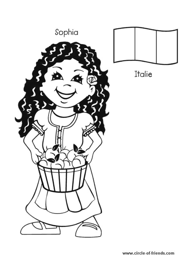 Sophia, la petite italienne portant un panier rempli de pêches, à colorier