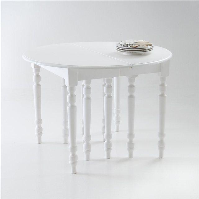 Table ronde 6 allonges, pin massif, 4 à 16 couverts, col. blanc, Authentic Style La Redoute Interieurs   La Redoute Mobile