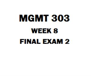 MGMT 303 Final Exam 1. (TCO1) Discuss the functions of management. Which function of management is the most important? Support your answer.  2. (TCO2) In order to be effective and efficient, CEOs must monitor both the internal and external environments. Is it more important for the CEO to monitor the organization's external or internal environment? Why? 3. (TCO3) You have recently been assigned as the ethics officer for your organization, as part of your responsibilities you have been asked…