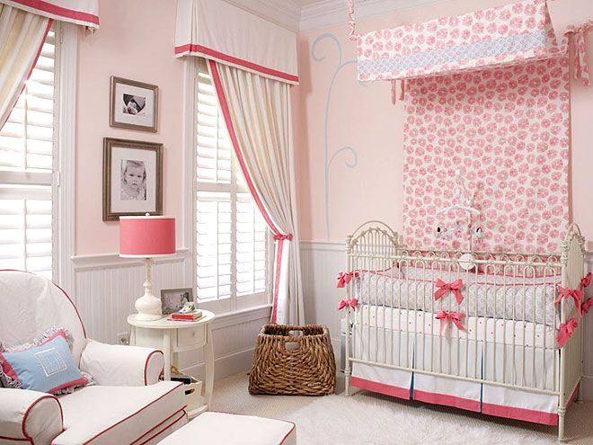 Great window treatments (from the blinds to the curtains) and love that they tie to the chair and cribDecor, Ideas, Curtains, Interiors Design, Baby Room, Baby Girls, Pink Bedrooms, Windows Treatments, Girls Nurseries