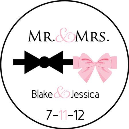 custom wedding stickers (design77) mr and mrs labels - wedding favors tuxedo bow and pink ribbon - laser printed on Etsy, $20.00