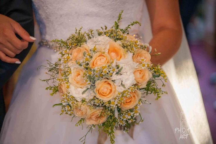Orange and white rustic bride bouquet for Natasa by Gourioti Flowers
