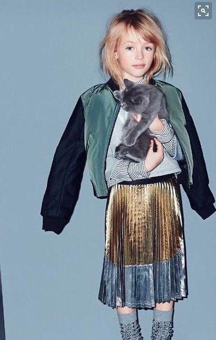 Love that metallic pleated skirt!