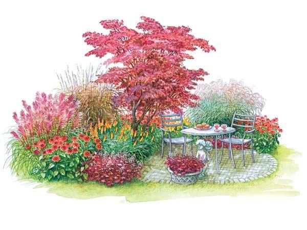 Cute Sitzplatz in Blau oder Rot Garten DesignGartenpflanzenSch ner