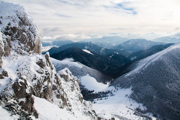 When going down from the Velky Rozsutec peak, you need to hold the chains, visible in the left part of this photo.