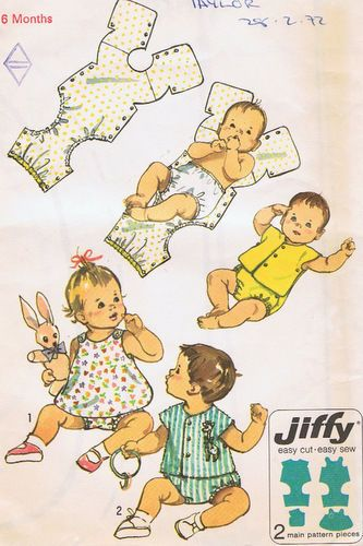 RARE - One Piece Snap-On Baby Romper Suit Boys and Girls EASY Vintage Pattern