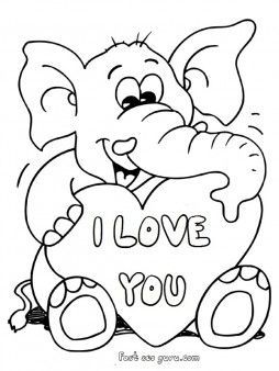 printable valentines day teddy elephant card coloring pages