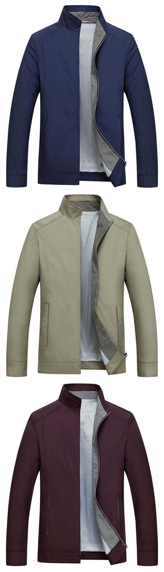 US$37.27#Business Casual Thin Stand Collar Solid Color Jackets for MenJA