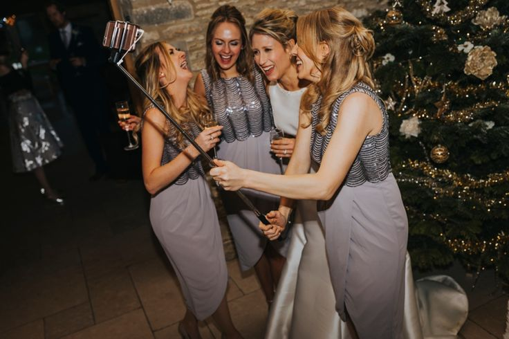 Selfie stick + bridesmaids + champagne! Photo by Benjamin Stuart Photography #weddingphotography #bridesmaids #selfie #selfiestick #girls #bride #weddingfun #christmaswedding
