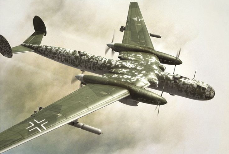 Messerschmitt Me264 two Engines - only 3 prototypes were built with the intention of flying as far as New York but they had to drop the project to concentrate on fighters. The first flight was in 1942 , the project was cancelled in 1944.