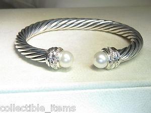 David Yurman 7mm Pearl Crossover Diamond Cuff Sterling Silver Bracelet | eBay