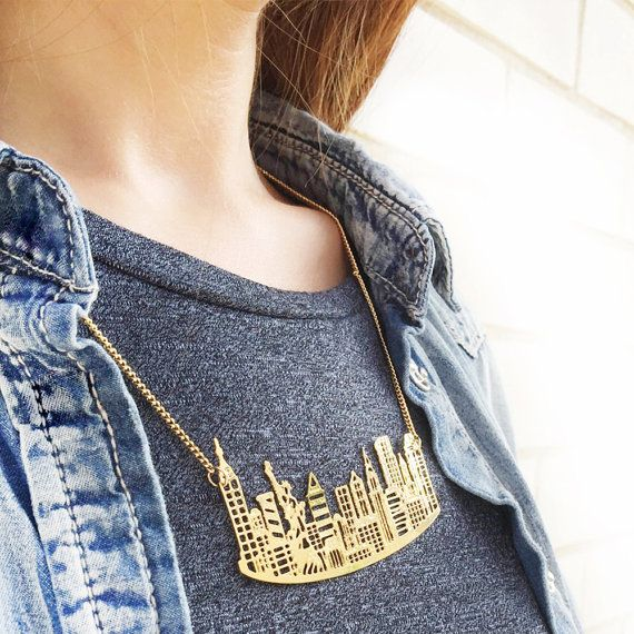 Oro/argento NY collana New York Skyline della di Sketchadesign