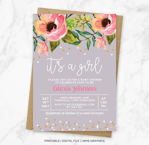 Girl Baby Shower Invitation Baby Shower Invitation Floral