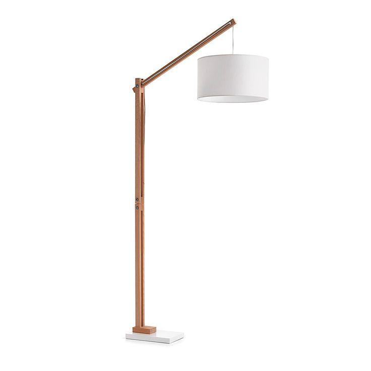 Floor lamp in wood with metal base