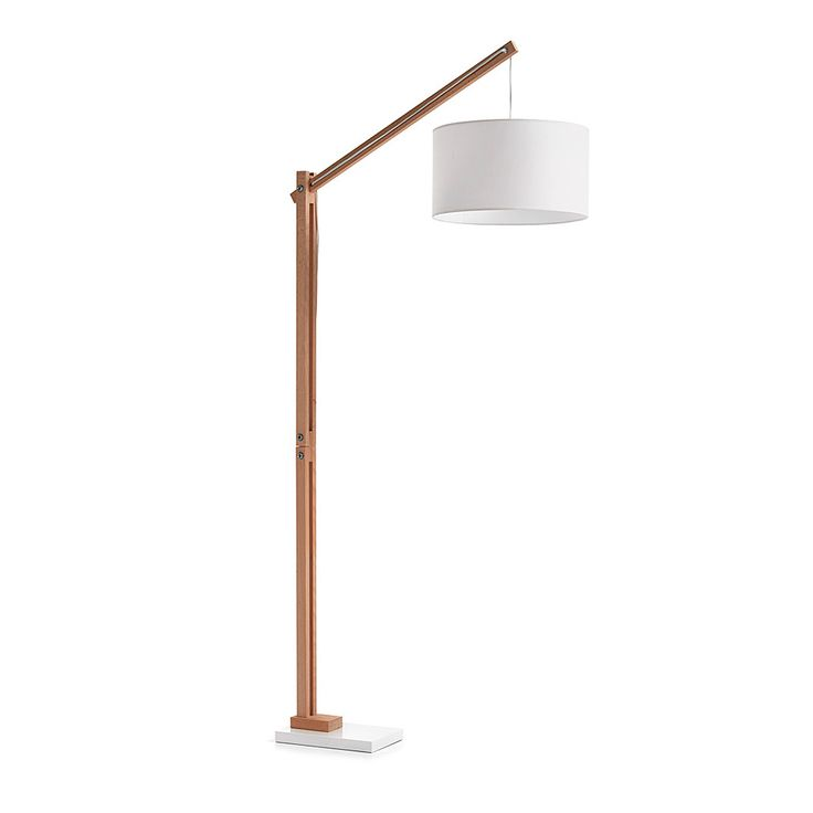 Floor lamp in wood with metal base