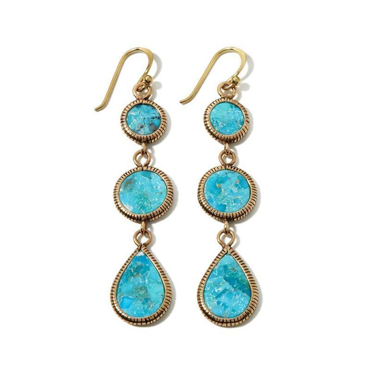 Barse Jewelry Turquoise and Bronze Drop Earrings