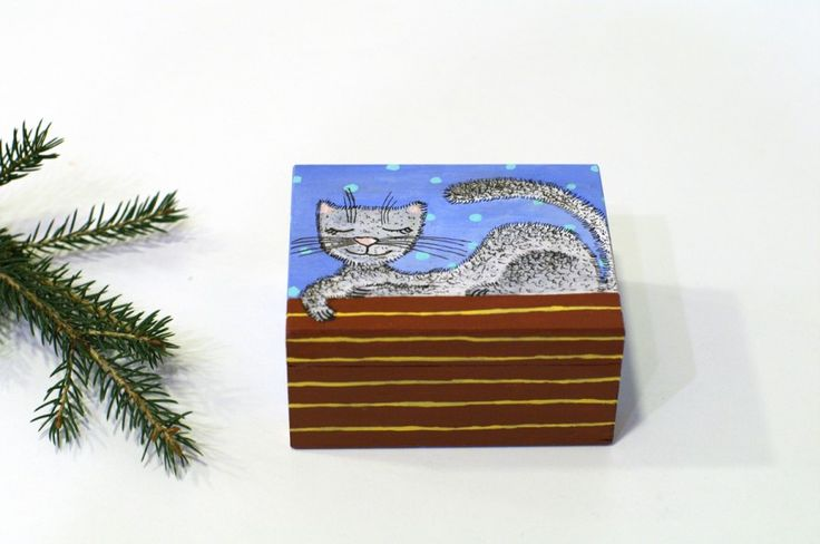 Small jewelry box - CAT Hand Painted wooden jewelry box - Painted trinket box - Small storage box - Earring box - Jewelry storage - Wood jewelry box