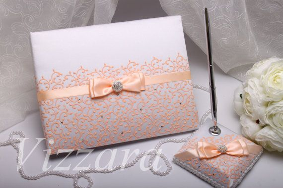 Custom Wedding Guest book peach A5 HAND-Painted Guest by VIZZARA