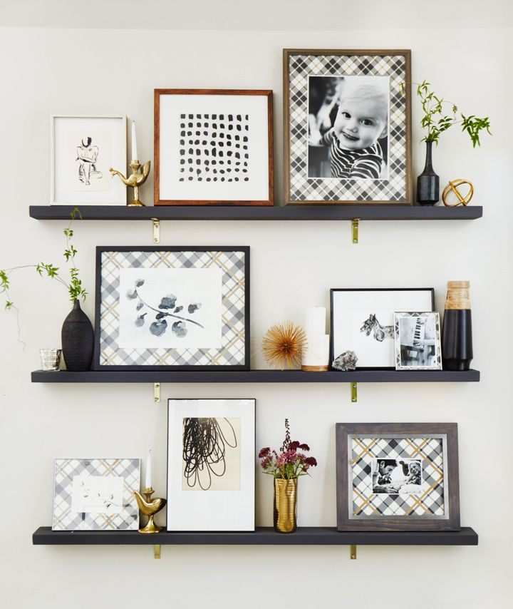 Art shelves are the new gallery wall, folks. While I still love a really good gallery wall, the shelves add a bit of structure and provide more of a foolproof way to add objects and smaller pieces while still making it look pulled together and like one big piece.