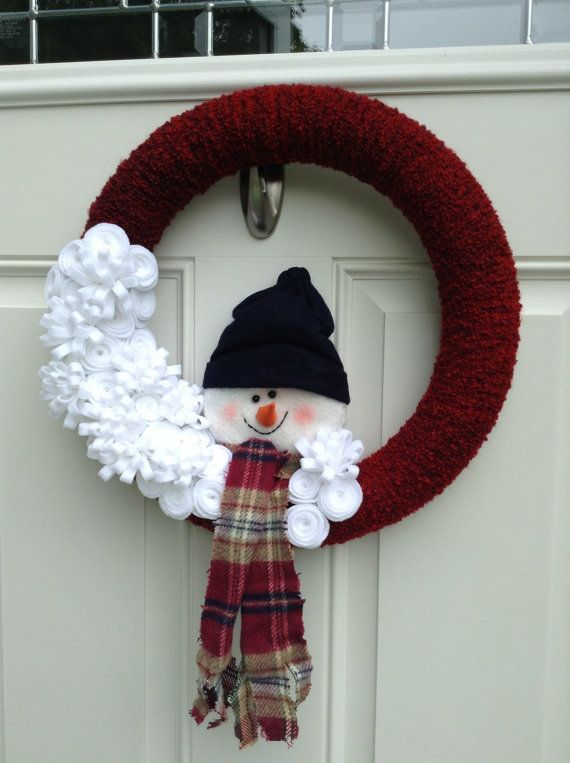 http://www.pinterest.com/bunnylvr30/wreaths/Snowman Wreath  Yarn Wreath  Felt Flower by BlueHouseDesignz, $45.00