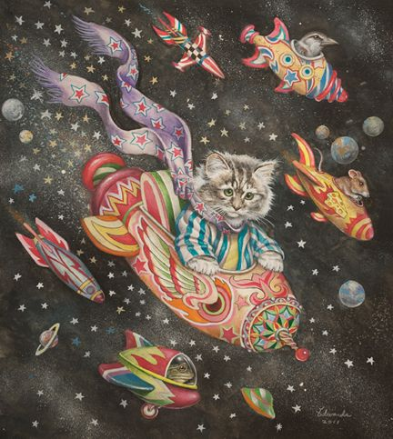 """Wallace Edwards - """"Space Cat"""" (2011) 22 x 19.5 watercolor, colored pencil, and gouache"""