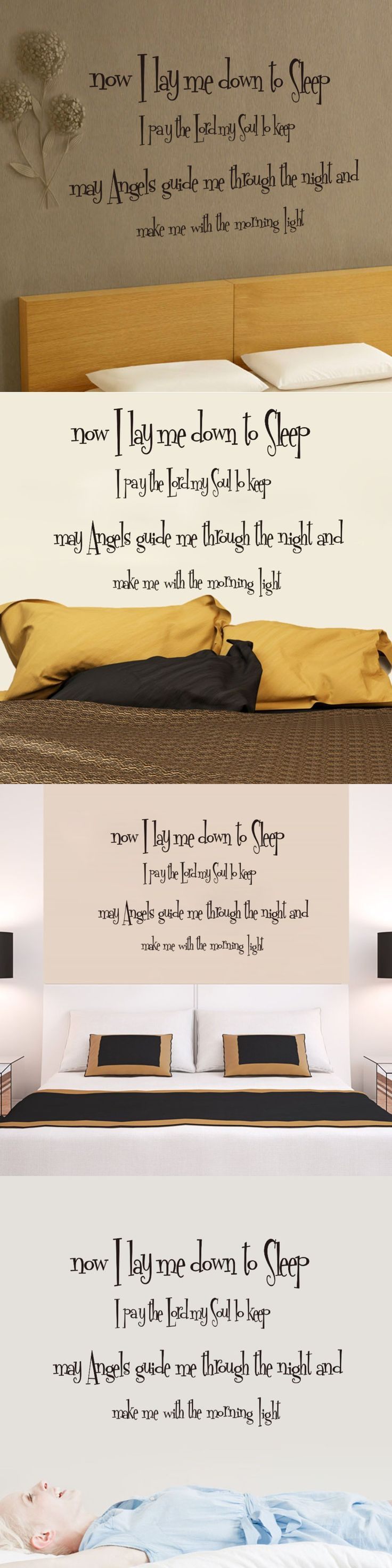 Now i lay me down to sleep wall decal - 2016 Vintage Home Decor Now I Lay Me Down To Sleep Quote Wall Decals Sofa And Bedroom Background Stickers Removable Vinyl Murals