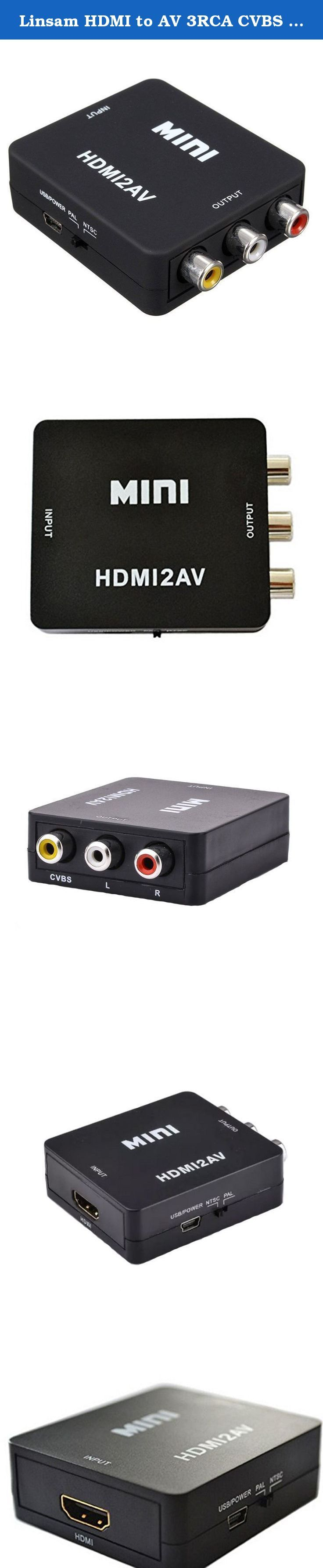 Linsam HDMI to AV 3RCA CVBS Composite Video Audio Converter Adapter 720P/1080P Supporting PAL/NTSC with USB Charge Cable for PC Laptop Xbox PS3 TV STB VHS VCR Camera /Blu-ray DVD Black (HDMI to AV). Description: This HDMI to AV adapter can convert HDMI video/audio signal to AV(CVBS)composite video and L/R stereo audio signal, supports DVI system sideline signals. Features: 1.No drivers,portable,flexible,plug and play. 2.Output the audio synchronize with video. 3.High bandwidth capability...