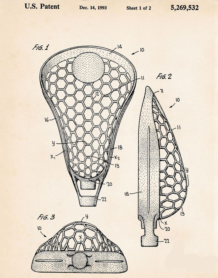 Patent Print Lacrosse Stick Head Racquet Drawing Sports Room Bedroom Decor #no #Vintage