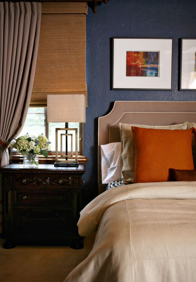 Appealing Blue And Orange Bedroom Decorating Ideas in Bedroom Contemporary design ideas with Appealing bedside table blue wall curtains decorative pillows drapes floral arrangement hydrangeas nightstand