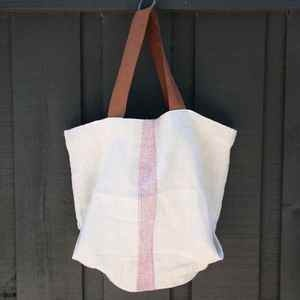 Tote bag, handmade from French antique hemp linen grain sack