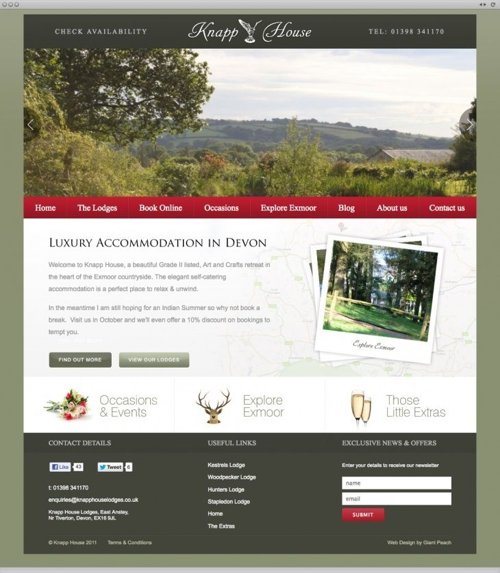 Knapp House can now add picture after picture of incredible scenery to a slideshow on their homepage, conjuring daydreams of woodland walks and wood fires. Knapp House now have a site that's as irresistible as their romantic getaways.