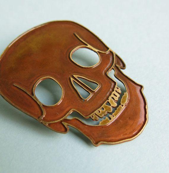 Brass Skull Brooch by Your Organ Grinder